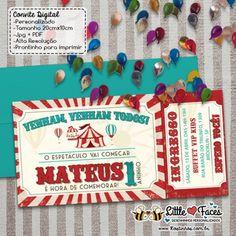 Convite Ingresso Festa Circo Vintage para Imprimir