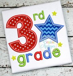 3rd Grade Star Applique $ REPIN THIS then click here: https://creativeappliques.com/