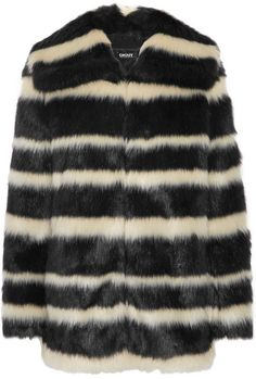 DKNY Striped faux fur coat