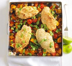 http://www.bbcgoodfood.com/recipes/2610636/thai-coconut-crumbed-chicken-traybake