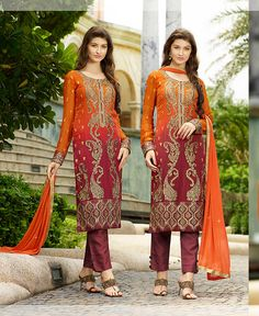 impact yourself this #orange #georgette #pakistani suit