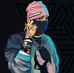 Dope Cartoon Art, Dope Cartoons, Arte Do Hip Hop, Hip Hop Art, Arte Dope, Dope Art, Chris Brown Photoshoot, Chris Brown Art, Chris Brown Wallpaper
