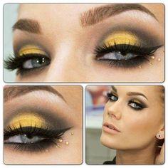 Makeup giallo... davvero affascinante in questa versione! Yellow Eye Makeup, Grey Makeup, Yellow Eyeshadow, Eyeshadow Looks, Love Makeup, Makeup Style, Awesome Makeup, Perfect Makeup, Colorful Eyeshadow