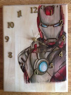 Handmade Wood Burned, Wood Burning, Pyrography, Home Decor, Iron Man Clock