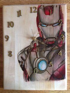 Handmade Wood Burned, Wood Burning, Pyrography, Home Decor, Iron Man Clock