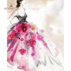 Print με strass 40x50. Από την Alphab2b.gr Flower Dresses, Ballet Skirt, Flowers, Art, Products, Fashion, Art Background, Moda, Floral Dresses