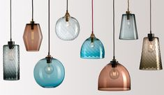 Pick-n-Mix – Rothschild & Bickers – Glass pendant lighting - All For Decoration Blown Glass Pendant Light, Glass Pendants, Glass Lamps, Cool Ideas, Pendant Lighting, Chandelier, Colored Ceiling, Pick And Mix, Yurts