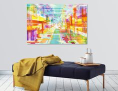 """Utopia"" artprint by Philippe Intraligi - https://www.curioos.com/product/print/utopia-2 #artprint #decoration #print #art #gift #architecture #city #3D #colors"