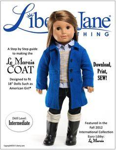 Le Marais Coat 18 inch Doll Clothes Pattern PDF Download | Pixie Faire
