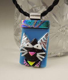 Black Cat  Cat Pendant Dichroic Fused Glass by GalaxyGlassStudio