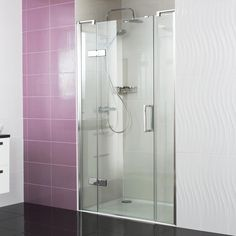 Decem Hinged Door with Two Inline Panels --- It will perfectly fill a larger alcove space, to create a beautiful style statement.--- Available from Roman Ltd - British Made Luxury Shower Enclosures and Bath Screens. Images Copyright www.roman-showers.com