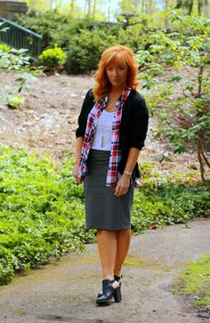 Fashion Fairy Dust style blog: plaid sleeveless shirt, striped skirt, black ankle boots, mixing prints