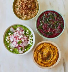 Hummus, salsa, pea and mint: Ravinder Bhogal's recipes for summer dips | Food | The Guardian Dips Food, A Food, Lentil Hummus, Veggie Recipes, Cooking Recipes, Cooking For Three, Green Lentils, Beetroot Dip