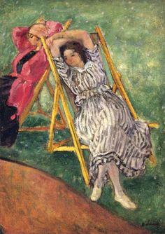 Two Girls Resting ~ Henri Lebasque ~ (French: 1865-1937)