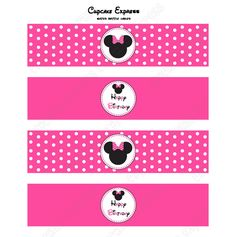 MINNIE MOUSE PRINTABLE WATER BOTTLE LABELS PINK #2