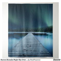 Aurora Borealis Night Sky Over Jetty Lake Tapestry