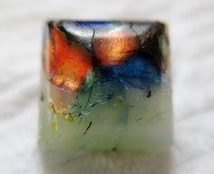 Brilliant Antique~ Vtg 19th C Leo Popper GLASS BUTTON Square w/ Vibrant Overlays