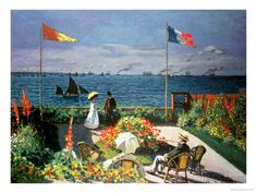 Claude Monet (French, Garden at Sainte-Adresse, The Metropolitan Museum of Art, New York. Monet painted this canvas in the summer of 1867 in a Sainte-Adresse garden with a view of Honfleur at the horizon. Claude Monet, Pierre Auguste Renoir, Edouard Manet, Monet Paintings, Landscape Paintings, Artwork Paintings, Seascape Paintings, Monet Garden, Artist Monet