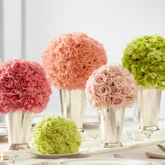 Bright, bold clusters of flowers.   Wedding Reception Centerpiece.