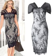 Newest Women's Sexy Style Bodycon Lace Splicing Ladies Party Evening Dress