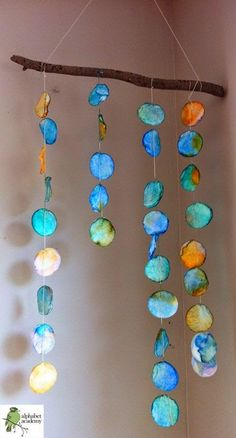 Puppy Love Preschool: Reggio-Inspired Collaborative Art: Hanging Watercolor Branch Mobile