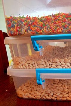 PUT sensory table stuff in clear shoebox containers and store them for later