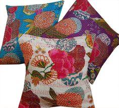 Kantha Stitch Cushion Cover - White