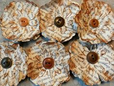 REPURPOSED Paper Flowers UPCYCLED Text Pages by PaperPastiche, $3.50