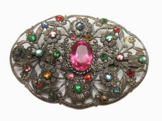 Victorian Oval Rhinestone BarBrooch c clasp by Serendipityfindings (19.00 USD) http://ift.tt/1OBoQ5x