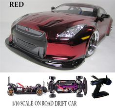 1/10 Scale NISSAN GT-R RTR Custom RC Drift Cars 4WD 2.4Ghz & Charger red #RedcatRacing