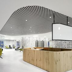 Character Design Ceiling + Lighting | Loop + Punteo-J by durlum #architonic #nowonarchitonic #interior #design #furniture #ceiling #acoustic #panel #decor #perforated #black #white #room
