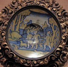 Chateau-Ecouen-Antichambre de Madeleine de Savoie, 1° majolique Assiette ECL 2138 (Scène de chasse)