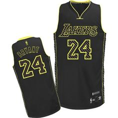 a60317957 Kobe Bryant Authentic In Black Adidas NBA Los Angeles Lakers Electricity  Fashion  24 Men s Jersey