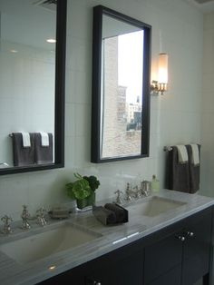 Sconces & shallow vanity    UWS Master Bathroom - traditional - bathroom - new york - Lea Frank Design