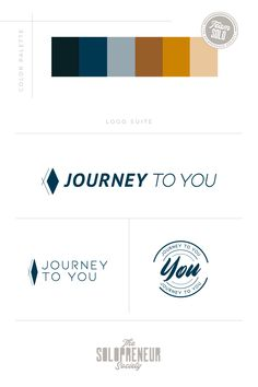 Brand identity design assets for Journey To You, inculding #colors, #logos, #fonts, #submarks, #pattern design, and #icons. Visit The Solopreneur Society today to eye-guzzle our full portfolio of brand identity suites and to learn how we can make you red carpet ready!