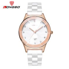 cbb7812a126 LONGBO Female Ceramics Strap Watches Rose Gold Dial Boys and Girls Wrist  Watches For Lovers Quartz