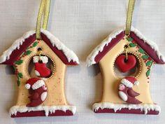Christmas bird house cookies by Olvik Fancy Cookies, Iced Cookies, Holiday Cookies, Cupcake Cookies, Cookies Et Biscuits, Christmas Clay, Christmas Cupcakes, Christmas Goodies, Christmas Treats