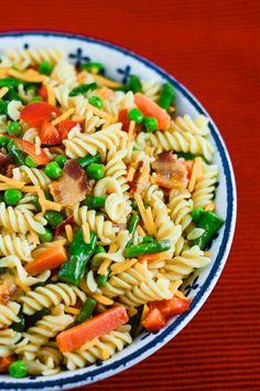 Bacon Pasta Salad Primavera - Flavor Mosaic -  Pasta salad with bacon and lots of spring vegetables - #pasta #salad #bacon #pastaprimavera