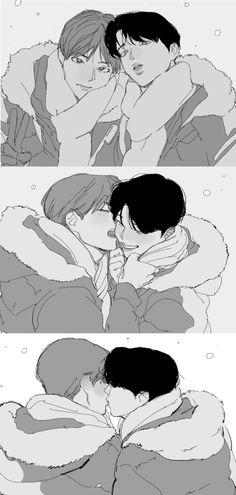 Jikook, Yoonmin, Bts Vmin, Jimin Fanart, Bts Chibi, Namjin, Great Friends, Bts Boys, Drawing Reference