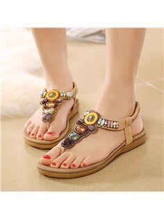 ericdress.com offers high quality  Ericdress Bead Elastic Band Slingback Strap Beach Sandals Flat Sandals unit price of $ 19.52.