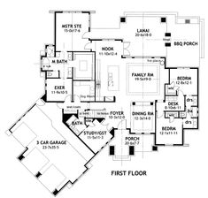 Updated plan for house we will build. Modern kitchen with large island, larger laundry room w/ dog wash, larger walk-in for master, and removed big fireplace and replaced with a smaller free standing modern unit. Plan: La Meilleure Vie
