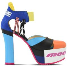 Moschino Heel ($485) ❤ liked on Polyvore featuring shoes, orange, moschino shoes, multi colored shoes, round cap, multicolor shoes and logo shoes