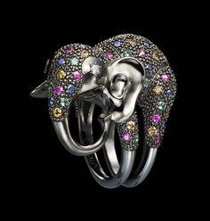 Dashi Namdakov Elephant ring in white gold and black rhodium with diamonds, sapphires, rubies and emeralds.