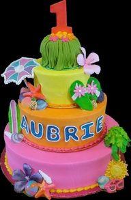 Luau Buttercream Iced Birthday Cake