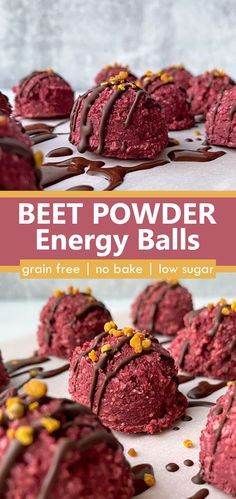 These Beet Powder Energy Balls are perfect for meal prep and snacking on throughout the week. They are low in sugar, yet taste great and are perfect for curbing that after-meal sweet tooth. This healthy recipe is paleo, vegan, and keto. It's also easy to make and requires only 3 ingredients. #snackideas #paleo #keto Paleo Protein Balls, Healthy Protein Bars, Coconut Protein, Protein Bites, High Protein, Paleo Vegan, Vegan Baking, Easy Coconut Balls Recipe, Gluten Free Snacks