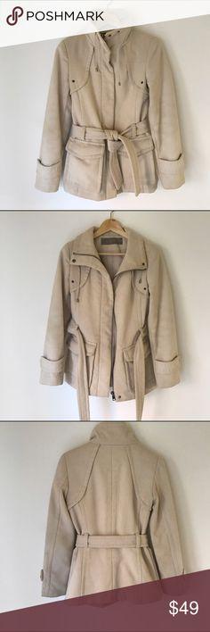 Zara Basics Jacket Zara Basics Jacket in cream. Preowned, some wear but no rips or stains super comfy and warm. Size S. Zara Jackets & Coats