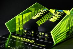 To launch the new Puma Evo Speed football boot we created a limited edition presentation case, sent to select press.  To reflect the high speed capability of the boot, the box takes its inspiration from the angular faceted shape of a stealth bomber. An anodised promolyte, self hinged, outer-skin folds back to reveal the boots housed in a laser etched, glow-edged acrylic tray.