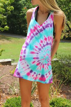 Make your own tie dye coverup out of large, white t-shirt!