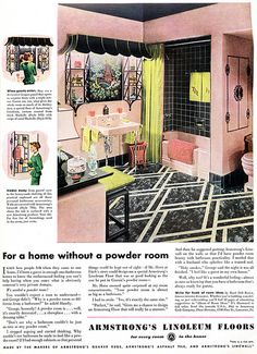 1940s Ads - The Pink Bathroom by DominusVobiscum - I lioe that weird awning style light fixture
