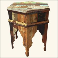 Rustic Hexagon Reclaimed Wood Patch Quilt Accent Table